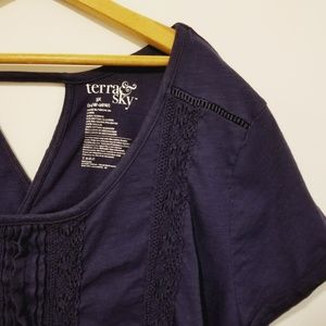 3x Terra & Sky navt shirt with pleats & crochet